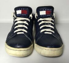 Vtg Tommy Hilfiger Blue Leather Womens Sneakers Shoes 8 Spell Out Flag Lace Up
