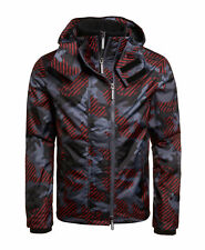 New Mens Superdry  Hooded Technical Print Pop Zip Sd-Windcheater Red Pop Camo