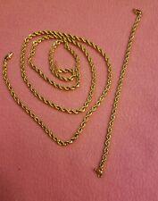 "LOT marked 24KGB 24K GB GOLD PLATED 29"" Necklace CHAIN  7"" Bracelet set"