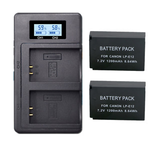 2X LP-E12 Battery + LCD Dual Charger for Canon EOS M50 M100 100D Kiss X7 Rebel