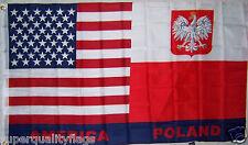 POLAND / U.S. USA POLAND COAT OF ARMS EAGLE FLAG NEW 3x5ft au