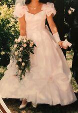 Brautkleid Gr. 38 lang weiß mit apricot farbenen Blüten und Reifrock, gebraucht