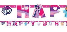 Niña My Little Pony Rosa Celebración Fiesta Cumpleaños Pancarta Guirnalda