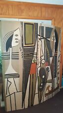 Vintage 1950's After Pablo Picasso Painter and Model Folding Four-Panel Screen