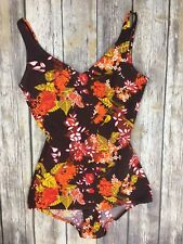 Vintage Allure One Piece Low Hip  Swimsuit Play Suit Size 46 Brown Floral