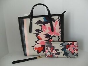 NWT FOSSIL Floral Handbag, Backpack, Purse With Matching Wallet