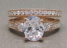 2.00 Ct Oval Diamond Engagement & Wedding Ring 14K Rose Gold Over Bridal Set