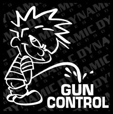 "Large 6"" Calvin pee piss on Gun Control sticker funny JDM vinyl window decal"