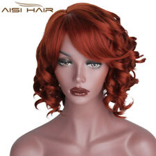 Synthetic Curly Bobs Hairstyles Wig Full  Short Red Wig with Bangs For Women