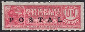 1936 Ecuador SC# 346 - Tobacco Stamp Overprinted in Black - M-HR
