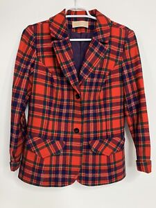 Vintage Pendleton Red Plaid Wool Suit Jacket Buttons Pockets USA Made Women's 14