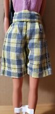 Hand Sewn Barbie Yellow And Grey Plaid Shorts