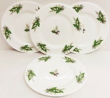 "Lily of the Valley Plates Set of 4 Fine Bone China 6"" 15 cm Plates Hand Decor UK"