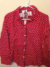 VICTORIA'S SECRET Red Print Penguin Flannel Pajamas With Sleep Mask New Small