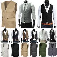 Men Formal Casual Business Dress Vest Suit Slim Tuxedo Waistcoat Jacket Coat Top