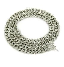 """18K Iced Out Cuban Chain 18""""20"""" 24"""" Diamond Dog Chain (Message Size And Colour)"""