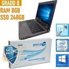 "Notebook Tragbar HP Probook 6560B I5 15,6 "" 8GB 240GB SSD Batterie Neu"