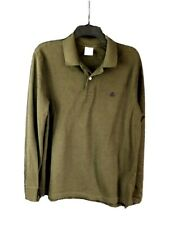 BROOKS BROTHERS LONG SLEEVE PERFORMANCE POLO SHIRT OLIVE GREEN SIZE M EUC