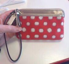 Coach Poppy Mini Dot Signature Fabric Leather Double Zip Wristlet Wallet