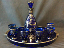 Murano Venise service à liqueur verre bleu décor argent gondole circa 1950
