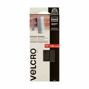 VELCRO Brand Outdoor Heavy Duty Strips   4 x 1 Inch Pk of 10   Holds 15 lbs  ...