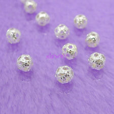Wholesale 300Pcs Silver Plated Metal Hollow Filigree Ball Spacer Beads 4mm