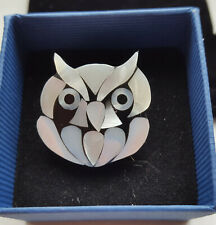 MOTHER OF PEARL OWL BROOCH, BOXED, VERY GOOD CONDITION
