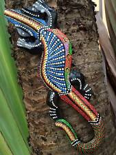 African Animal Gecko Garden Carved Hand Painted Decor Wall Hang Wood Dot Reptile
