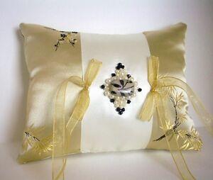 Gold, Ivory, Black Brocade Satin Ring Bearer Pillow Beaded Centerpiece, Handmade