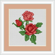 Roses Mini Cross Stitch Kit by Luca S B033