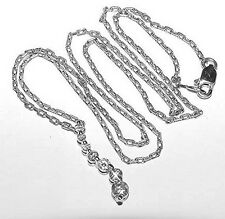 "Lovely 14K White Gold 7 Diamond Journey Pendant 16"" Chain Necklace 2.7Gr"