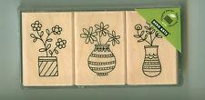 HERO ARTS rubber stamp set VASE TRIO wood mounted, Flowers, LP174