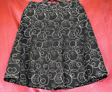 CHRISTOPHER & BANKS Lined Embroidered A-Line Side Zip Linen Skirt Black White  6