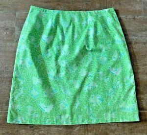 8 Lilly Pulitzer skirt green greens Resort 2006 jungle elephant monkey short