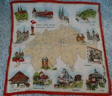 Fisba Stoffels Swiss Made Cotton Hand-Rolled Hanky - Switzerland Map Nwt
