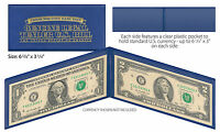 BLUE Deluxe Display Protection Folio CURRENCY BANKNOTE BILL PAPER MONEY (QTY 3)