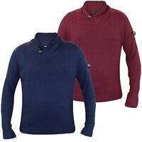 New Mens Designer Firetrap Kint Jumper Turtle Neck Button Sweater 100%Cotton Top