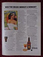 1972 Print Ad Heublein Brass Monkey Cocktail ~ Was the Brass Monkey a Woman?