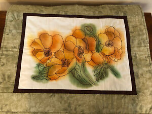"""Hand Dyed Fabric Free Motion Floral Quilted Table Runner-22x27""""-One of a Kind"""