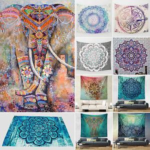 Yoga Gym Mat Indian Tapestry Wall Hanging Mandala Hippie Throw Beach Nap Blanket