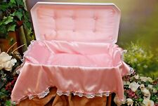 """Newnak's Small 18"""" Deluxe Pet Casket White/Pink"""