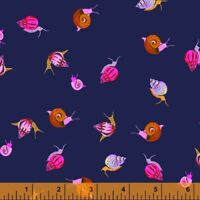 Snails Heather Ross 20th Anniversary Windham Cotton Quilt Fabric 42209A 3 Purple