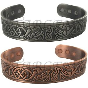 MENS SET OF 2 PURE COPPER MAGNETIC BANGLE CELTIC PAIN RELIEF ARTHRITIS BIO GIFT