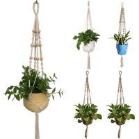Macrame Jute Rope Plant Hanger Garden Flower Pot Holder Braided Hanging Basket