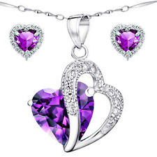 Sterling Silver AAA Created Amethyst Heart Cut Pendant Necklace & Earring Set