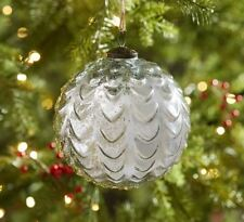 "Pottery Barn Oversized Silver Mercury Glass 6"" Sphere Christmas Ornament"