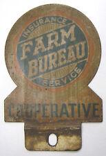 Vintage Farm Bureau Insurance Metal Auto Tag Plaque