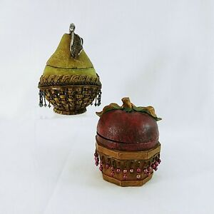 Storage Box Caddy with Lids Apple Pear Beaded Decorative Resin