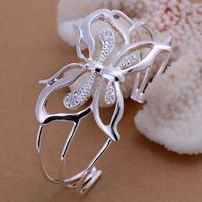 NEW beautiful Fashion silver Women pretty Butterfly bangle Bracelet noble B109