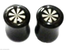 PAIR-Horn w/Bone 8 Point Star Double Flare Plugs 08mm/0 Gauge Body Jewelry